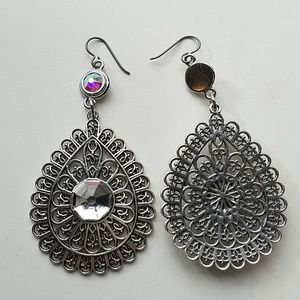 GASOLINE GLAMOUR Jewelry - GYPSY MEDALLION DROP EARRINGS OPAL MOONDUST NEW